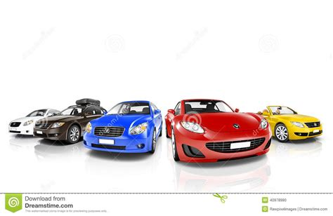 colorful cars studio of colorful cars in a row stock photo image