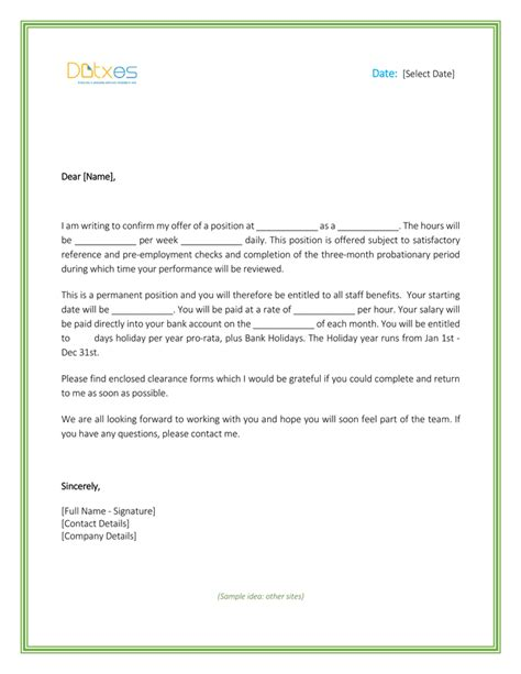 employment offer letter template free offer letter free formats and sle for