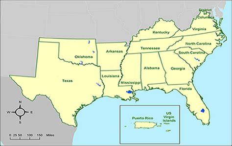 map of southern states opinions on southern united states
