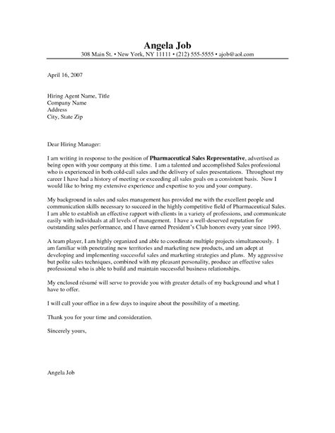 Sales Rep Cover Letter by Sle Resume Cover Letter Pharmaceutical Sales Free Sle Resumes