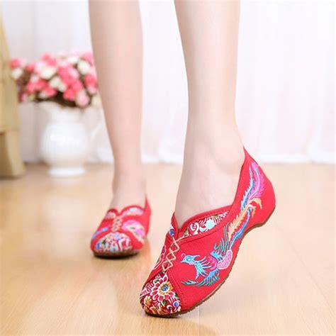 Flatshoes Pink sale embroidered peking vintage flat shoes
