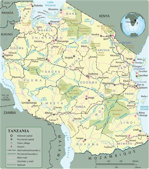 africa map tanzania map of tanzania travel africa
