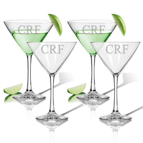 cocktail glass set monogram martini cocktail glasses set of 4 classic