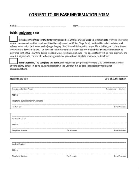 Sle Release Of Information Form 12 Free Documents In Pdf Release Of Information Form Template