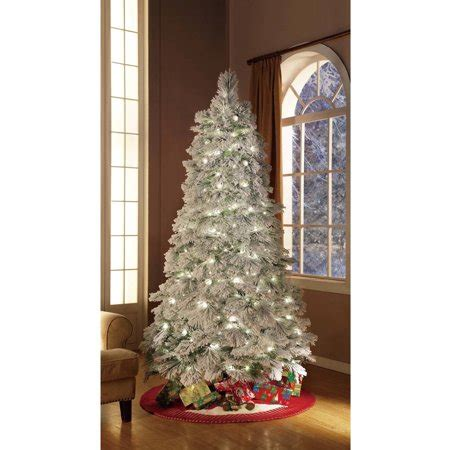 walmart christmas trees that move around for sale time artificial trees pre lit 7 5 flocked artificial tree clear lights