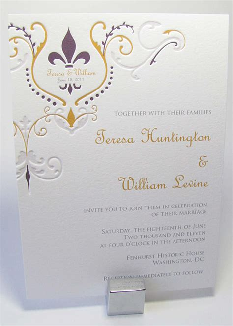 Fleur De Lis Wedding Invitations fleur de lis wedding invitation digby invitations dc