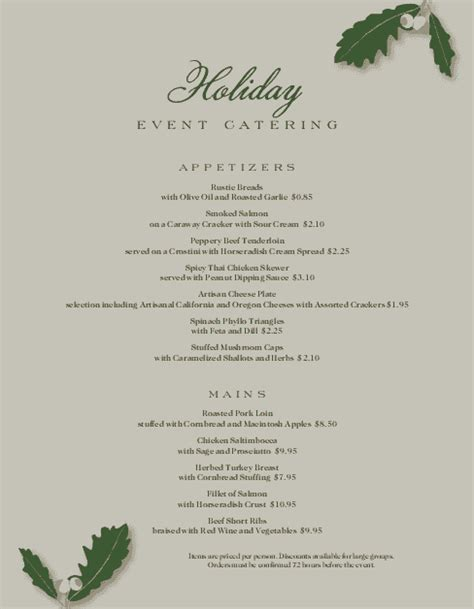holiday catering menu christmas menus
