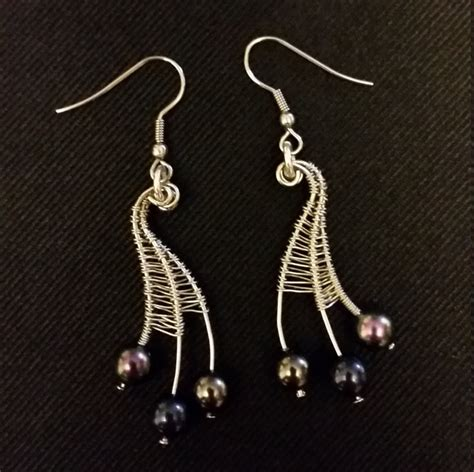 Handmade Wire Jewelry - handmade wire wrapped web earrings