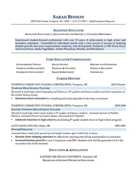 Sample Resume For Teaching by Resume Templates For Teaching College