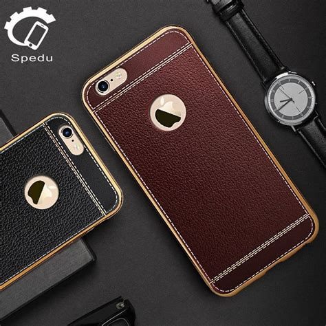 Leather Grid Luxury Litchi Tpu Iphone 6s Plus Soft Cover Casing spedu litchi leather with metal frame for iphone 5 5s 5c se 6 6 plus 6s 6s plus 7