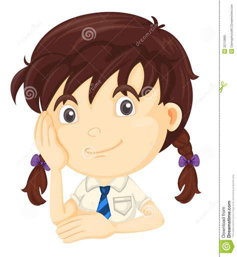 cute cartoon girl thinking royalty free stock photos girl thinking royalty free stock photo image 32710895