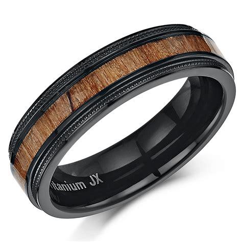 his hers black titanium wedding ring band set with koa