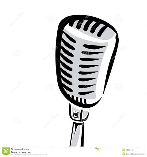 Stand Up Comedy Mic by Retro Microphone Silhouette Vector Illustration Stock