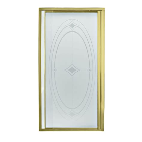 Shower Doors Lowes Shop Sterling Polished Brass Framed Pivot Shower Door At Lowes