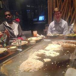 photo greg oden casually hanging out in a benihana
