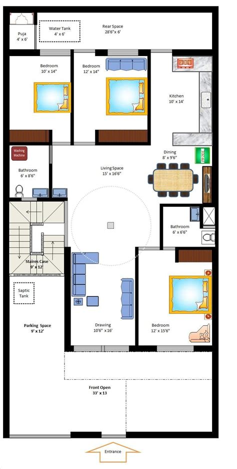 17 best 30 x 40 images on pinterest 30x40 house plans 35 x 70 west facing home plan small home plans