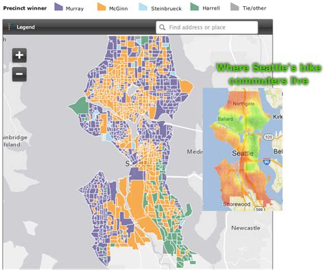 seattle interactive map comparing bike commute rates to the mayoral primary