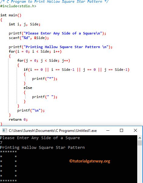 hollow square pattern in java c program to print hollow square star pattern