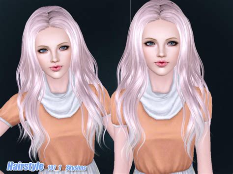 download wavy hair for sims 3 wavy middle part hairstyle 197 1 by skysims sims 3 hairs
