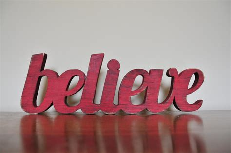christmas decor believe wood word decoration by