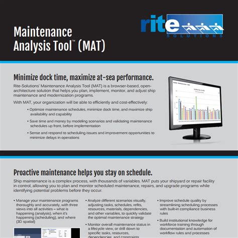 Mat Analysis by Maintenance Analysis Tool Brochure Plan Monitor Ship