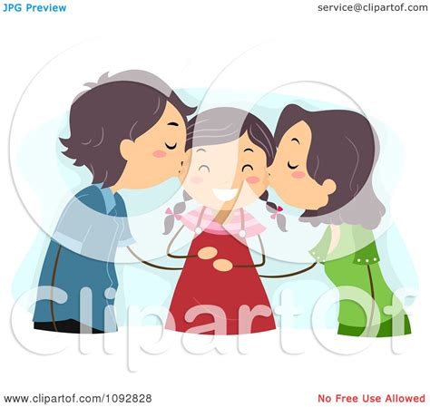 clipart mom  dad kissing  daughter   cheeks