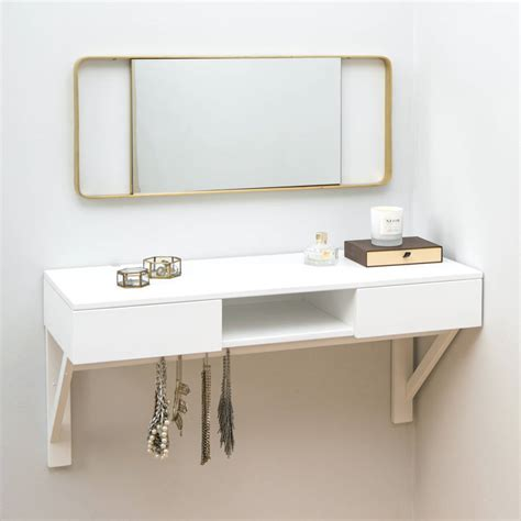 Bathroom Design For Small Spaces Floating Dressing Table With Drawers And Jewellery Rail By