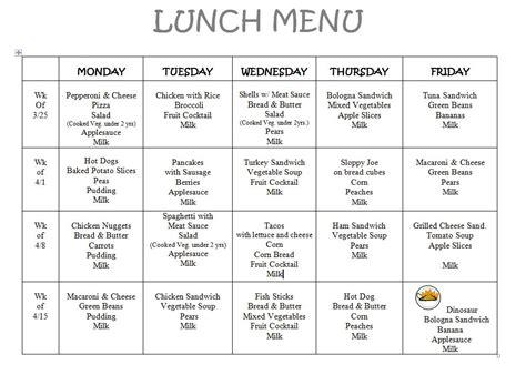Menu Victor Child Care Center Lunch Menu Calendar Template