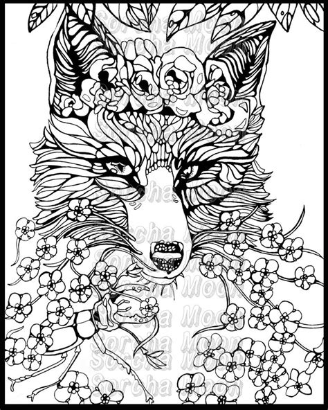 fox coloring page for adults fox forget me nots coloring page for adults by sorchamoon