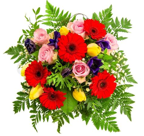 colorful spring flowers bouquet bouquet of colorful spring flowers over white stock