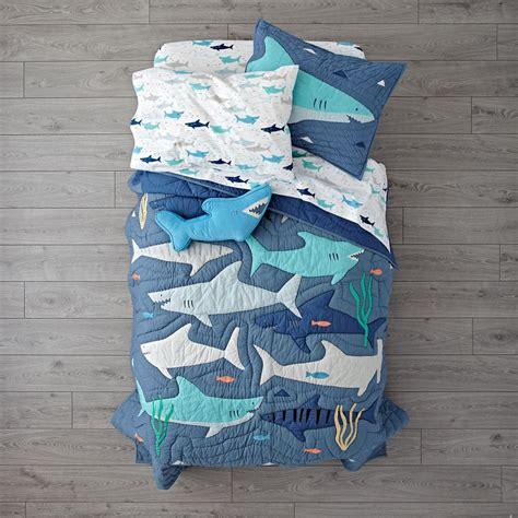 shark crib bedding shark bait quilt the land of nod