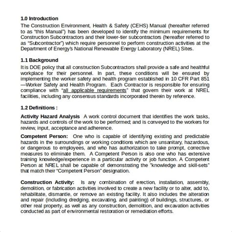 14 Safety Manual Sles Sle Templates Safety Manual Template