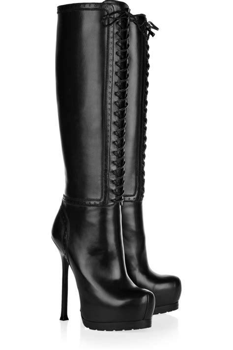vintage lace up knee high boots platform heels