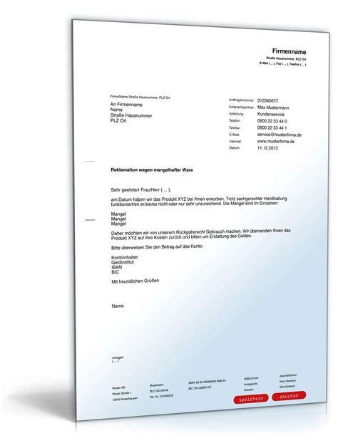 Reklamation Brief Vorlage Reklamation Defekter Ware Rechtssicherer Musterbrief Zum