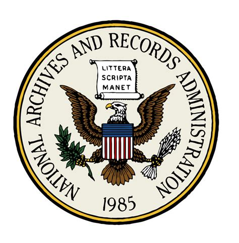 Us Government Records Free File Seal Of The National Archives And Records Administration Color With White