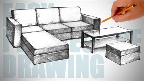 How To Draw Furniture Sofa Easy Perspective Drawing 23 Youtube | how to draw furniture sofa easy perspective drawing 23