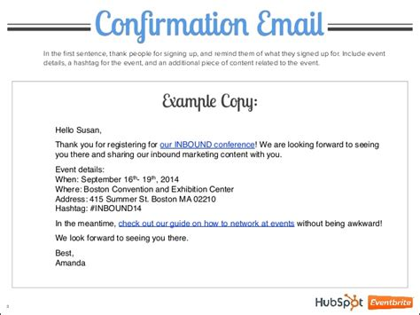 4 Event Emails Explained Confirmation Email Template For Event
