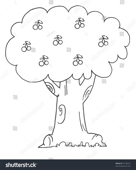 coloring page cherry tree coloring page outline of a cherry tree stock photo