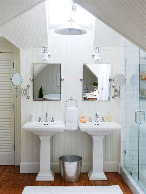 Images Of Cottage Bathrooms by His And Pedestal Sinks In Cottage Bathroom