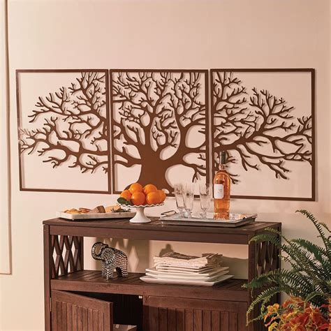 tree of life home decor large metal wall art framed 3 pc set picture outdoor indoor decor s ebay