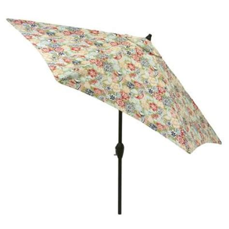 Patterned Patio Umbrellas Hton Bay 9 Ft Aluminum Patio Market Umbrella In Jean Floral 9900 01002000 The Home Depot