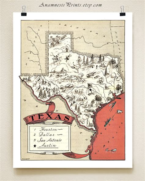texas map prints texas map vintage picture map print to by anamnesisprints