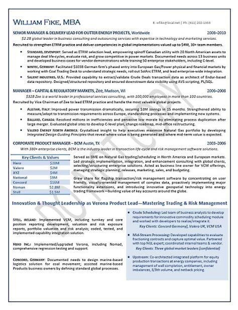 Mnc Resume Format by Global Executive Mnc Energy Trading Page 2 Resume Sles