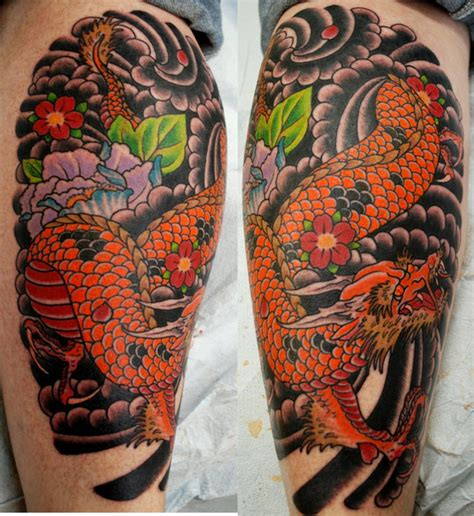 dragon calf tattoo designs ideas by larry rogers original king