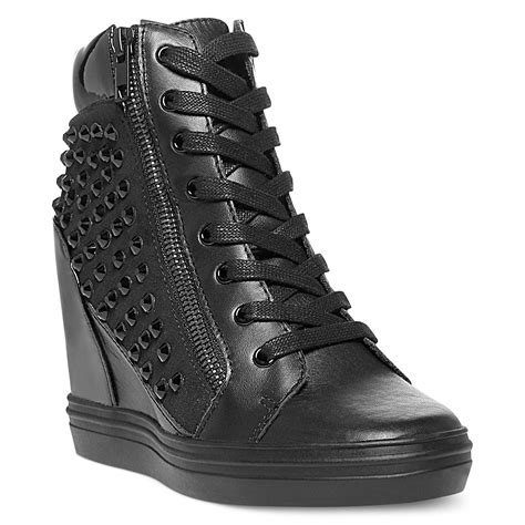 sneaker wedges steve madden steve madden zipps wedge sneakers in black white lyst