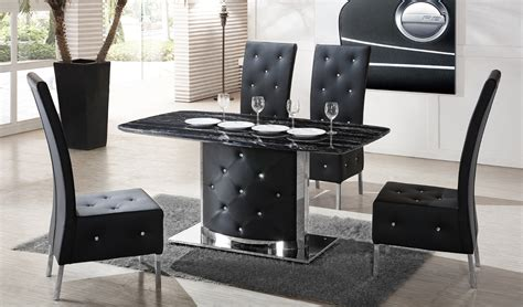Black Marble Dining Table And Chairs Serene Black Marble Finish Dining Table And 4 Chairs 21366