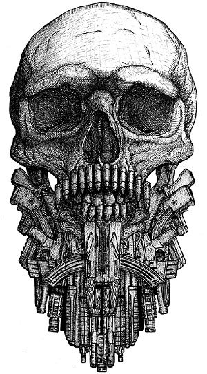 bearded skull tattoo skull with beard from various guns by dariusm1993 on