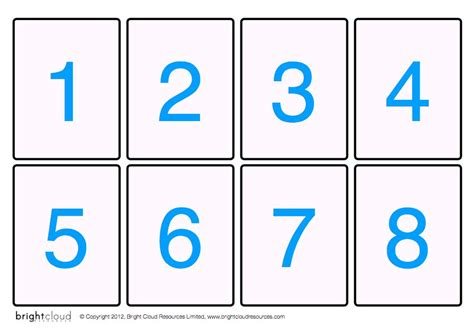 printable flash cards numbers 8 best images of printable number cards 10 20 number