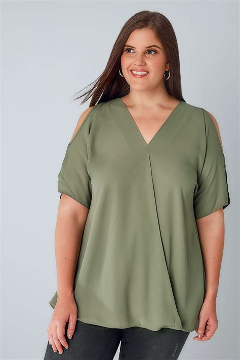 Sm Blouse Bugsize Wash Biru Blouse Size Wash Biru khaki cold shoulder wrap front blouse plus size 16 to 36