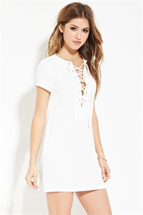 30580 Lace Dress White lyst forever 21 lace up shift dress in white